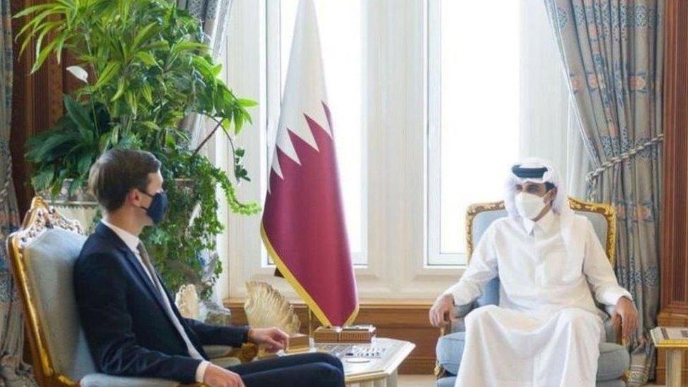 لقاء أمير قطر الشيخ تميم بالمستشار الأول للرئيس ترامب، جاريد كوشنر في الدوحة 2 ديسمبر 2020