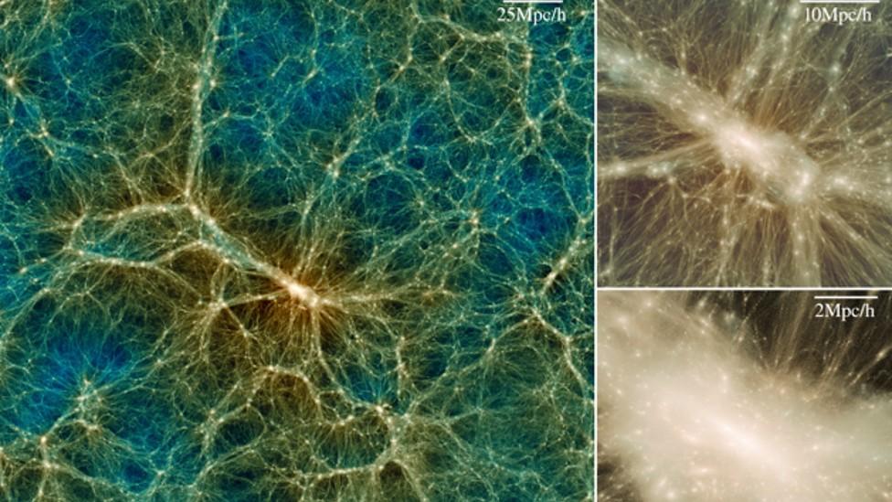 Vizualización de materia oscura y ampliaciones del mismo objeto con zoom