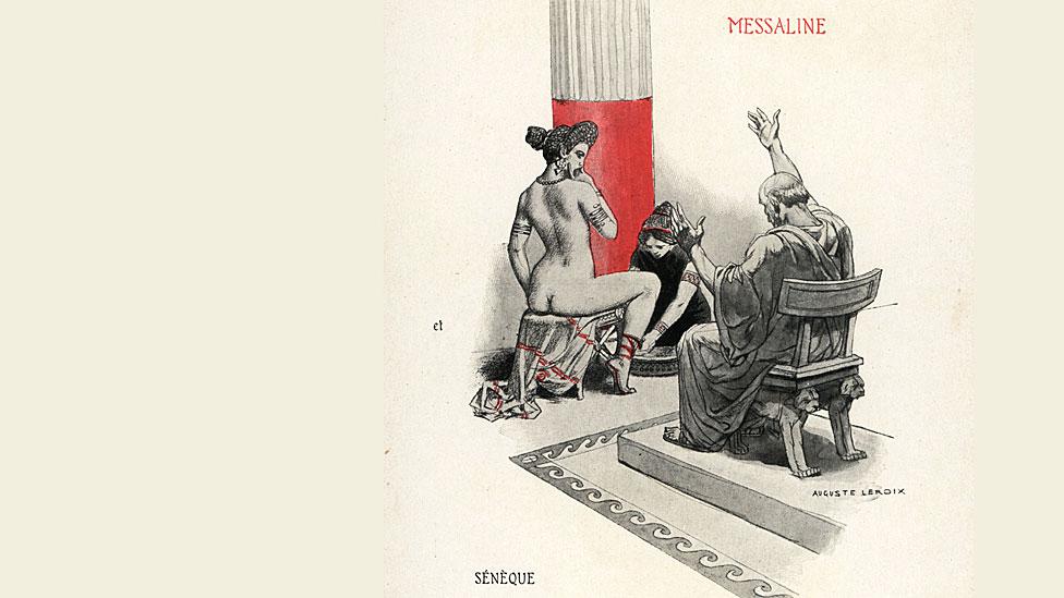 """La esposa del emperador Claudio, Mesalina, desnuda con una esclava, y Séneca, el escritor que hizo desterrar de Roma. Ilustración impresa en color de Auguste Leroux de la novela de Felicien Champsaur """"La orgía romana"""", 1903"""