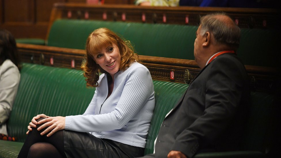 """Deputy Labour leader Angela Rayner during Prime Minister""""s Questions in the House of Commons"""