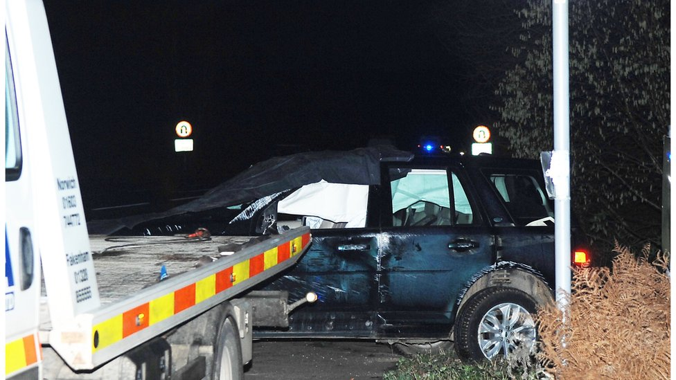 Duke of Edinburgh's car after it was involved in a collision near Sandringham on 17 January