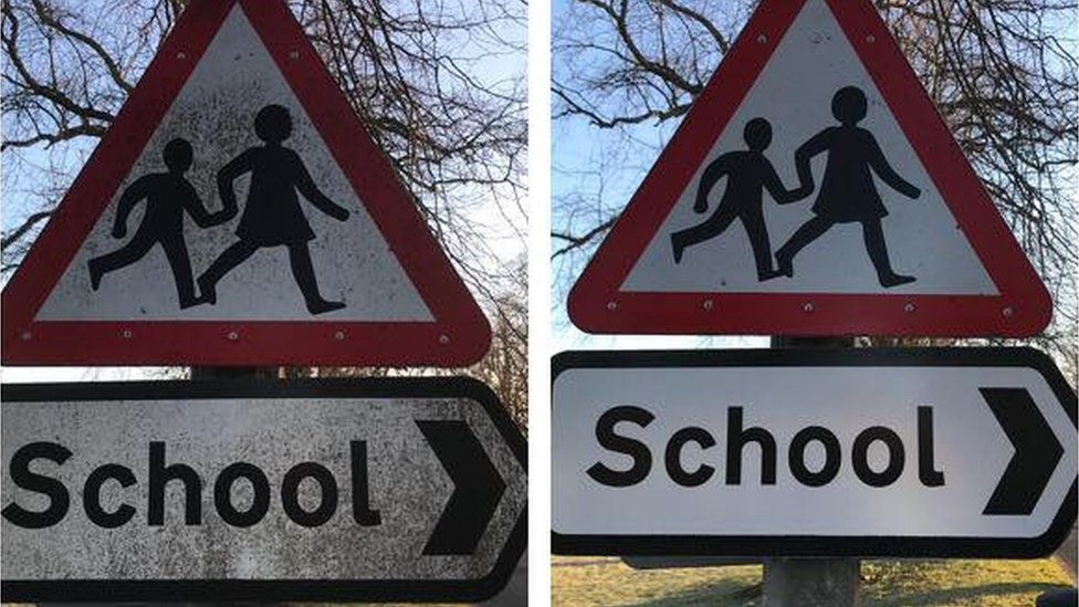 School signs - dirty and clean