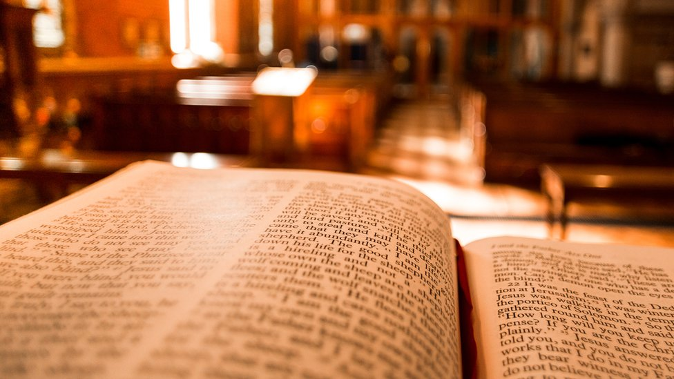 A generic image of a bible in a church