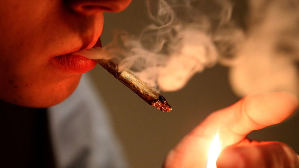 Cannabis smoker in France, file pic