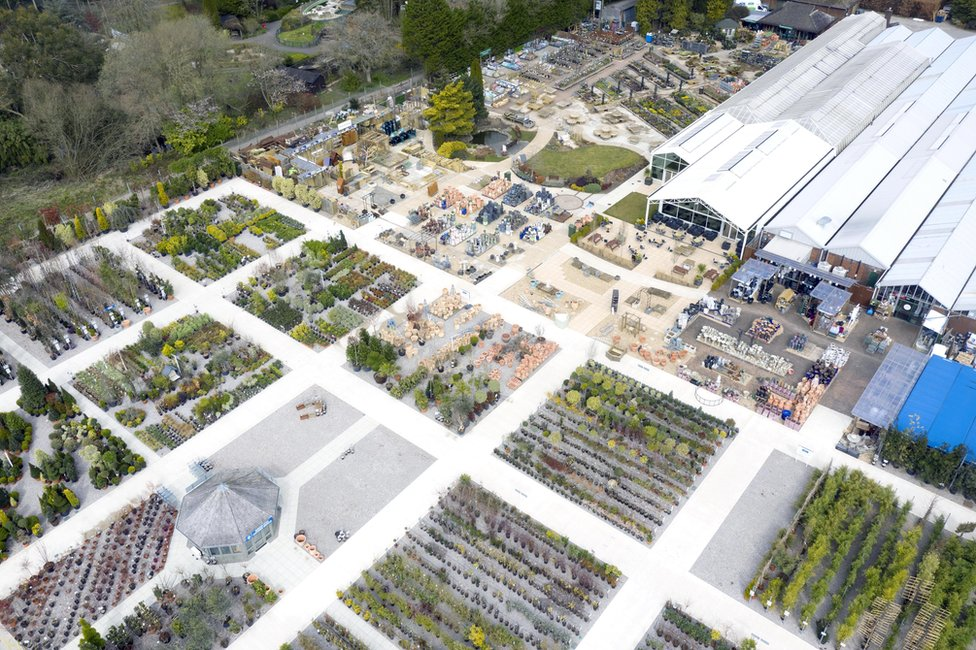 An aerial view of the outdoor area of a garden centre showing it empty of customers