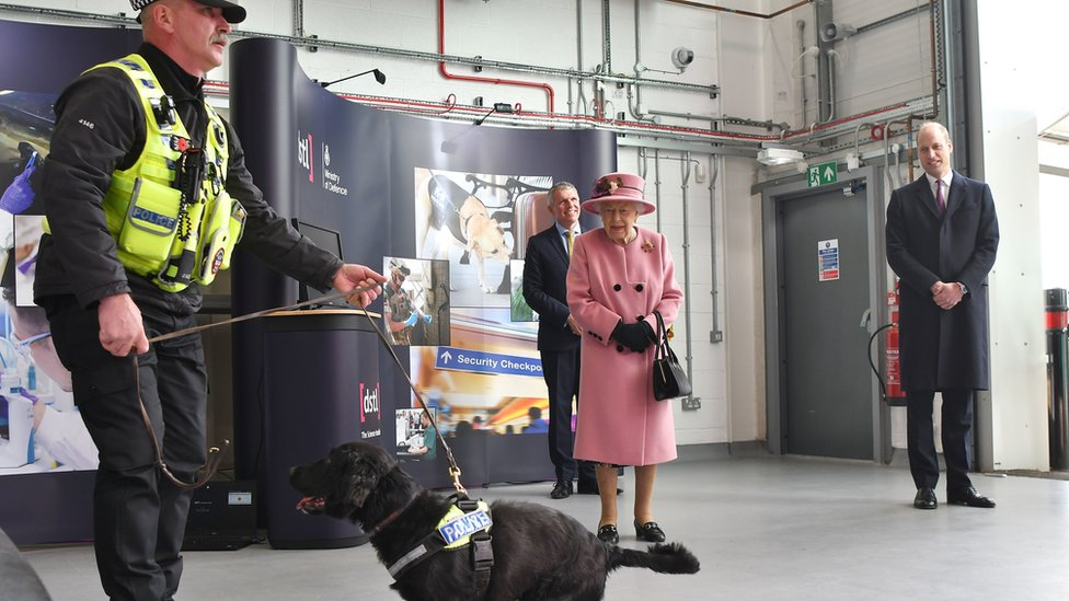 "The Queen and the Duke of Cambridge watched a demonstration of a forensic explosives investigation with explosives detection dog named ""Max"" during their visit"