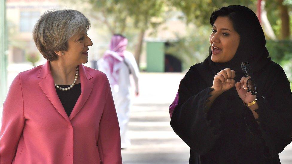 Theresa May, putri Reema Bint Bandar al-Saud
