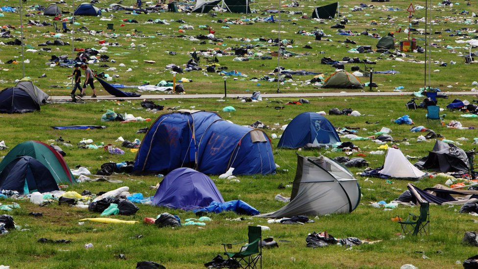 Tents left behind at Glastonbury festival