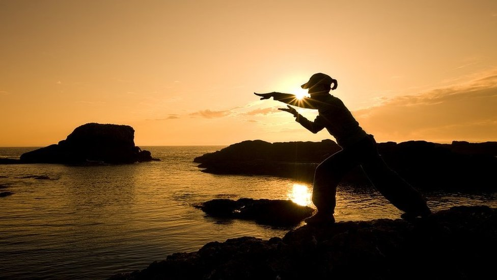 Silueta de una persona haciendo artes marciales