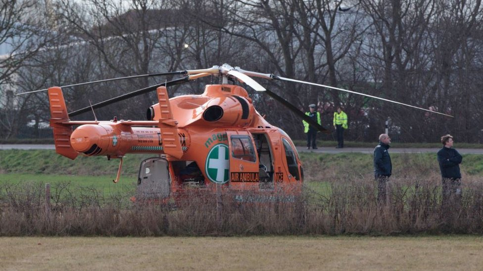 Magpas air ambulance at accident scene