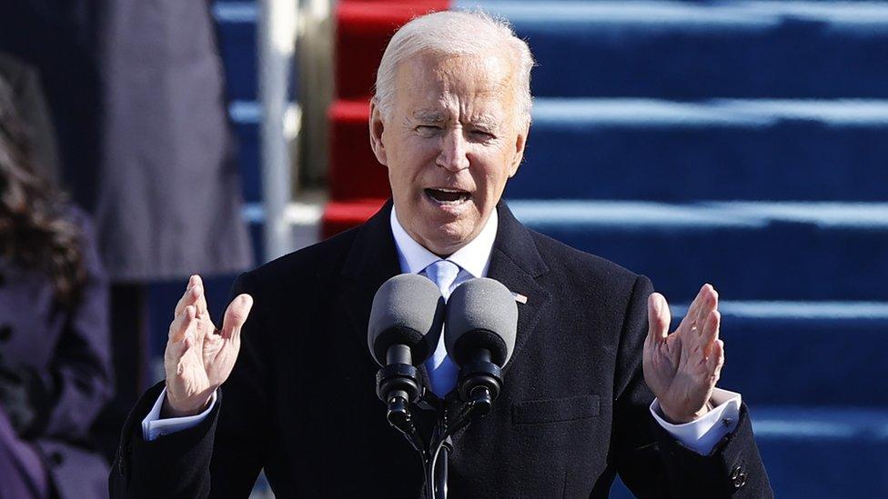 Joe Biden en su primer discurso como presidente de Estados Unidos