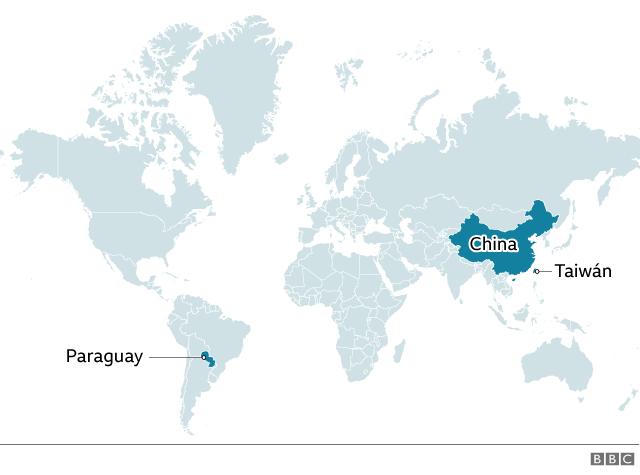 Mapa que muestra las ubicaciones de Paraguay. China y Taiwán