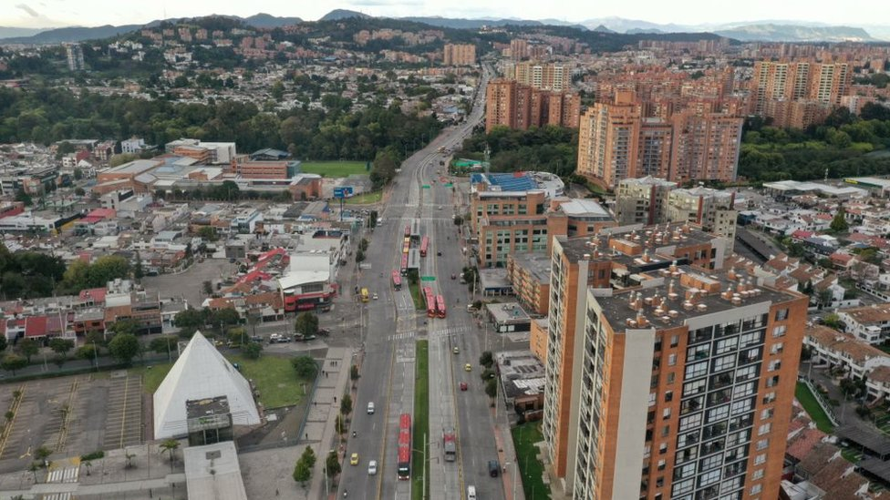 Vista aérea de Suba, Bogotá.