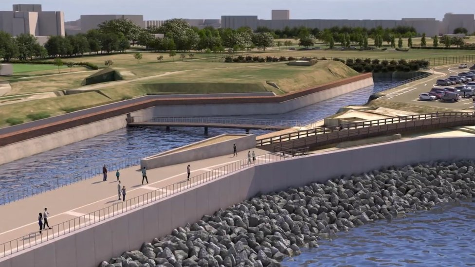 An artist's impression of planned defences at Long Curtain Moat - from the council's video