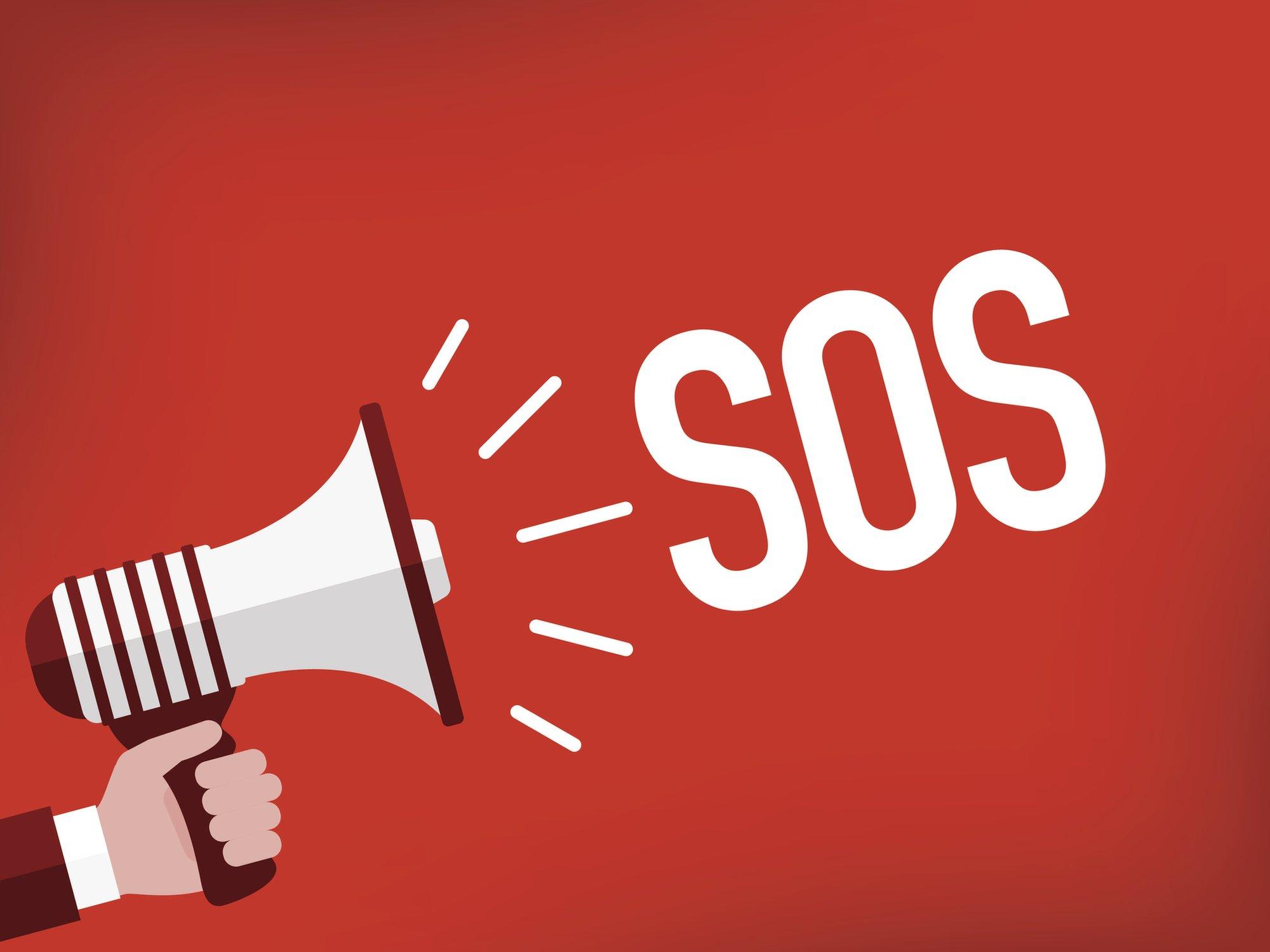 Ilustración de un mensaje con la sigla S.O.S.