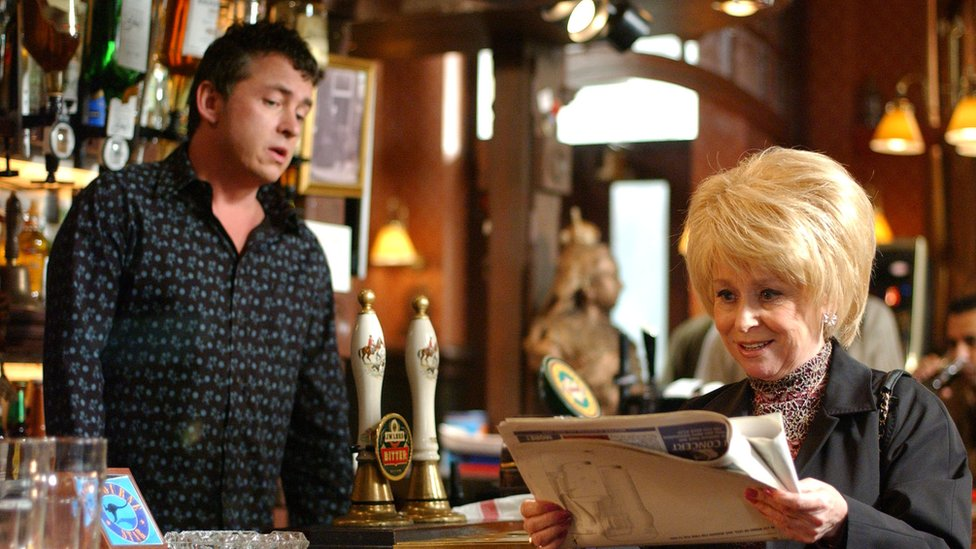 Alfie and Peggy in the Queen Victoria pub in 2002