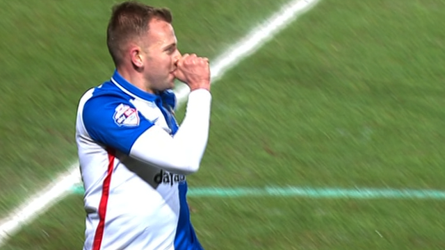 Blackburn's Jordan Rhodes celebrates his 75th minute goal