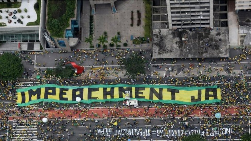 Demonstrators attend a protest against Brazil's President Dilma Rousseff, part of nationwide protests calling for her impeachment, in Sao Paulo, Brazil, March 13, 2016