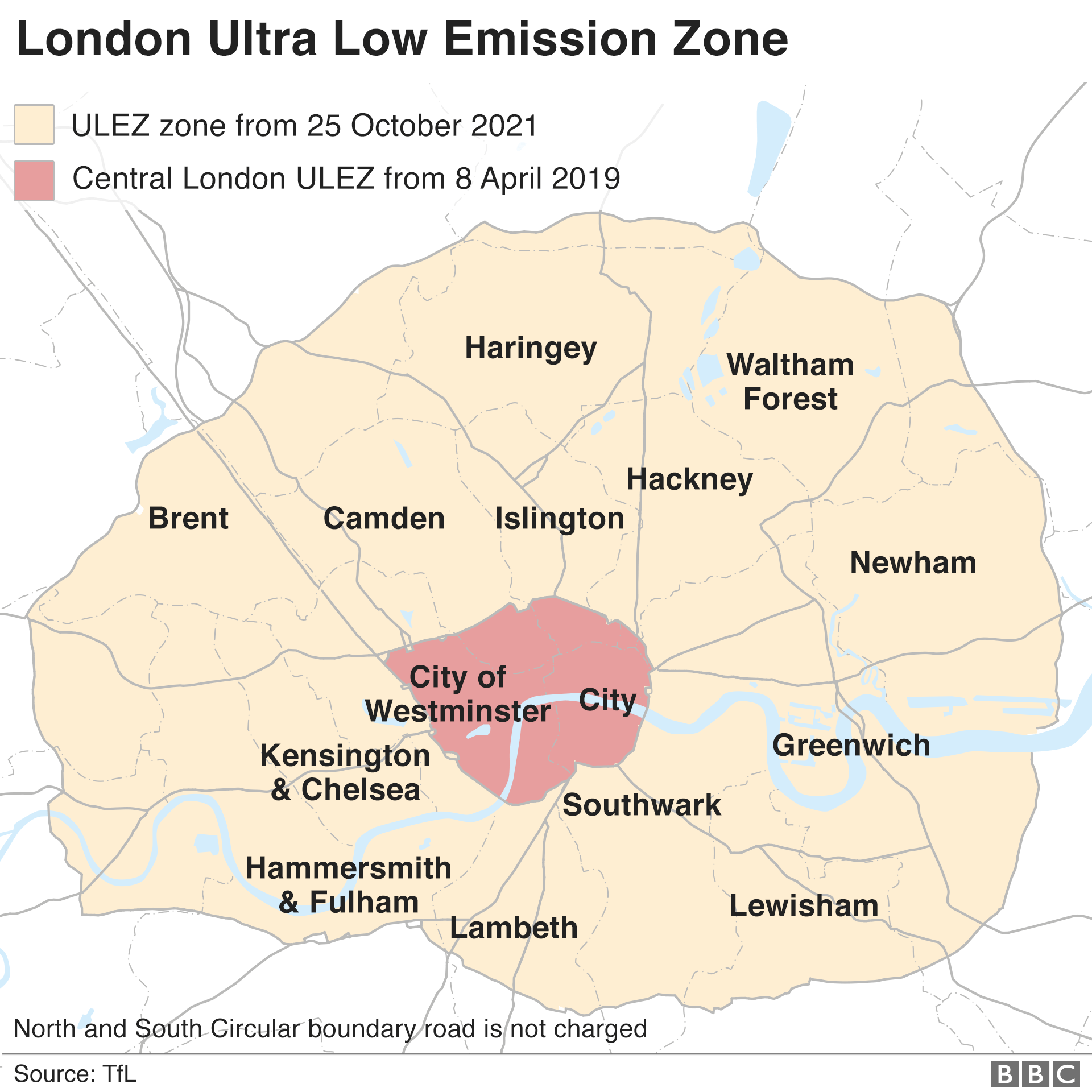 Map: London ULEZ zones