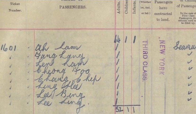 Un boleto único registra los nombres de los ocho pasajeros chinos en el Titanic