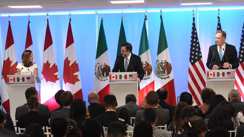 Ministra de Relaciones Exteriores de Canadá, Chrystia Freeland; Secretario de Economía de México, Ildefonso Guajardo Villarreal y Representante de Comercio de Estados Unidos, Robert Lighthizer.