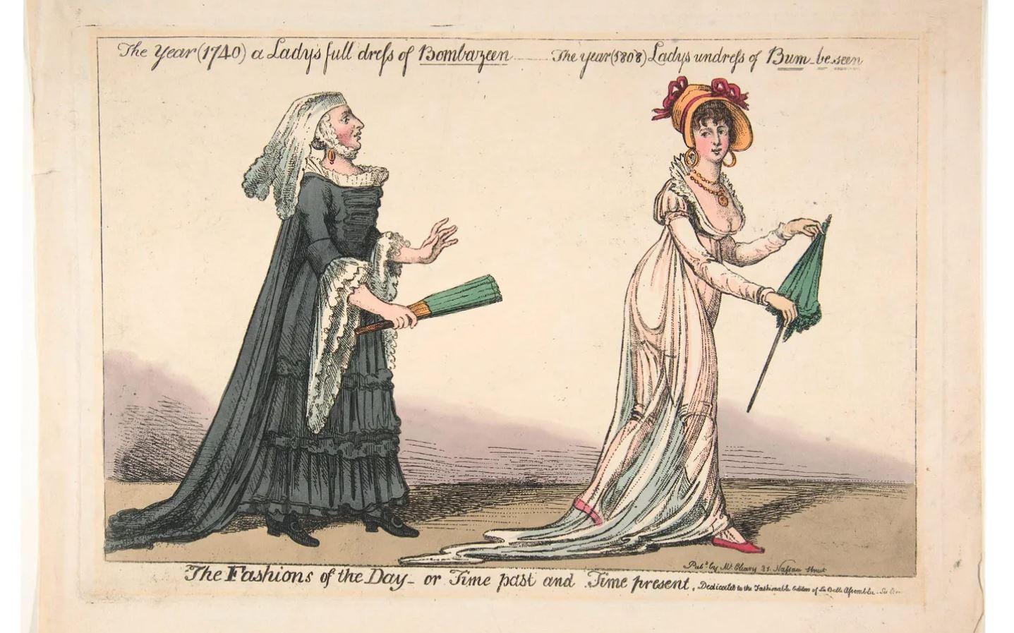 Una ilustración con una mujer usando un vestido de muselina.