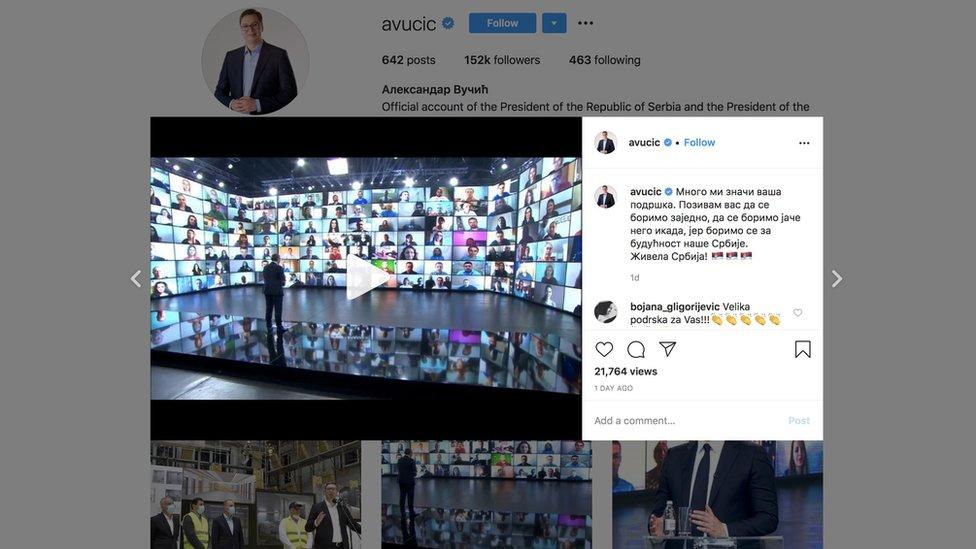 Snimak ekrana na kome je Instagram profil predsednika Vučića