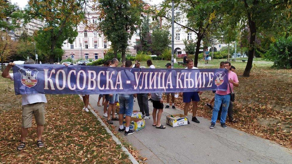 Protest prodavaca udžbenika u Kosovskoj ulici u Beogradu