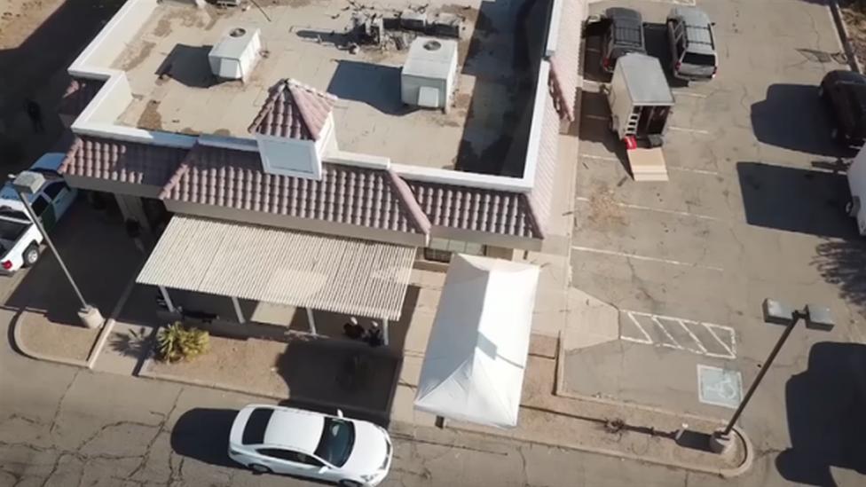 Old KFC restaurant aerial shot