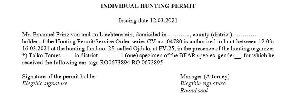 Leaked hunting permit