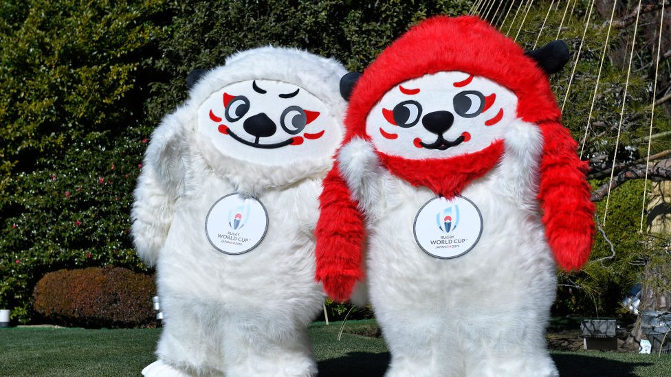 The mascot Ren-G for the 2019 Rugby World Cup in Japan pose for photographs
