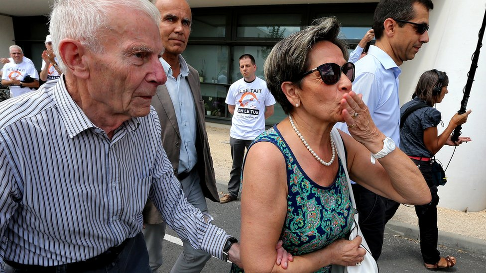 Pierre (left) and Viviane Lambert, the parents of Vincent Lambert, campaigning for their son to be kept alive, 23 July 2015