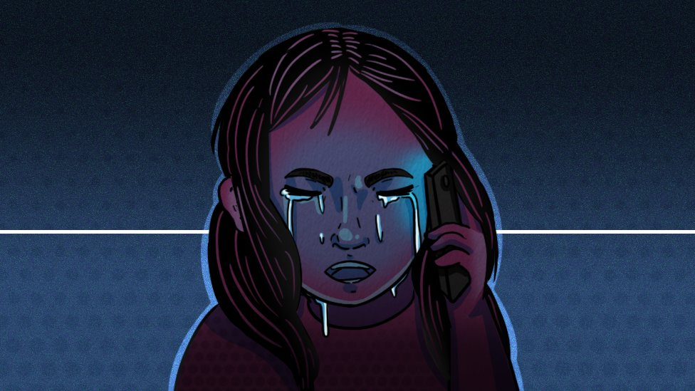 Illustration of young girl, on the phone, crying.
