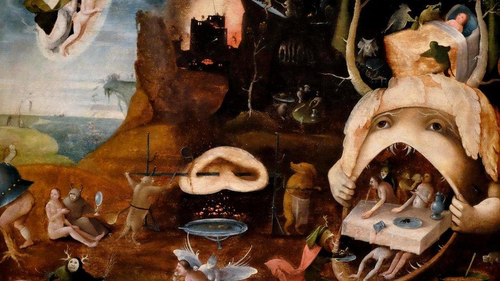 """Groteskne opise raja i pakla slikali su i Boš i njegovi sledbenici - od kojih je jedan stvorio """"Tundalovu viziju"""" (c 1520-30)"""