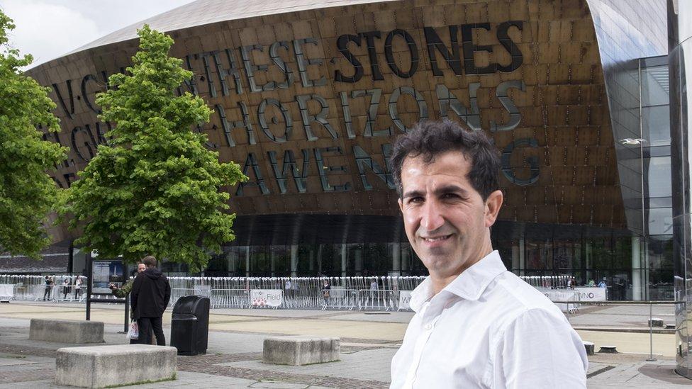 Kurdish refugee Salah Rasool took his wedding vows in Welsh
