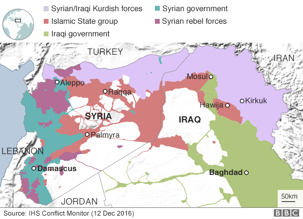 Map of Iraq and Syria showing control areas