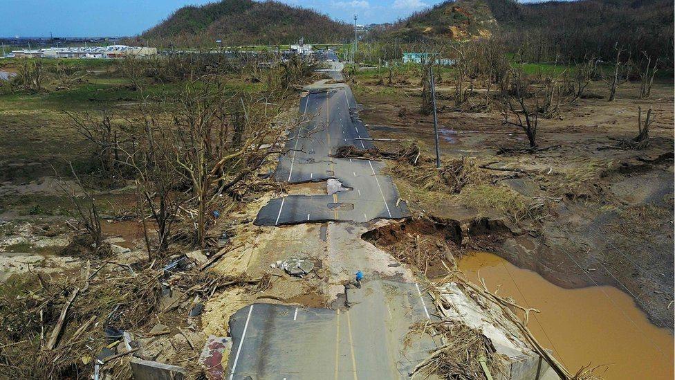 Devastación por María en Puerto Rico.