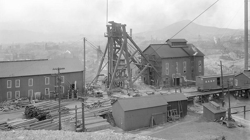 Una mina de la Anaconda Copper Company en Montana