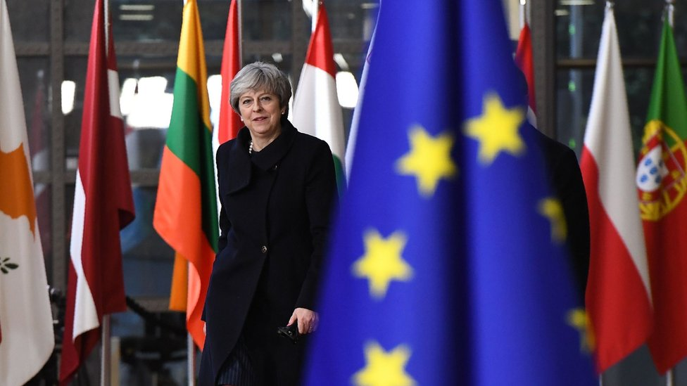 Theresa May arriving in Brussels for summit