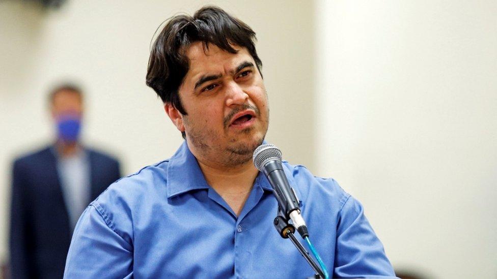 Ruhollah Zam speaks during his trial in June 2020