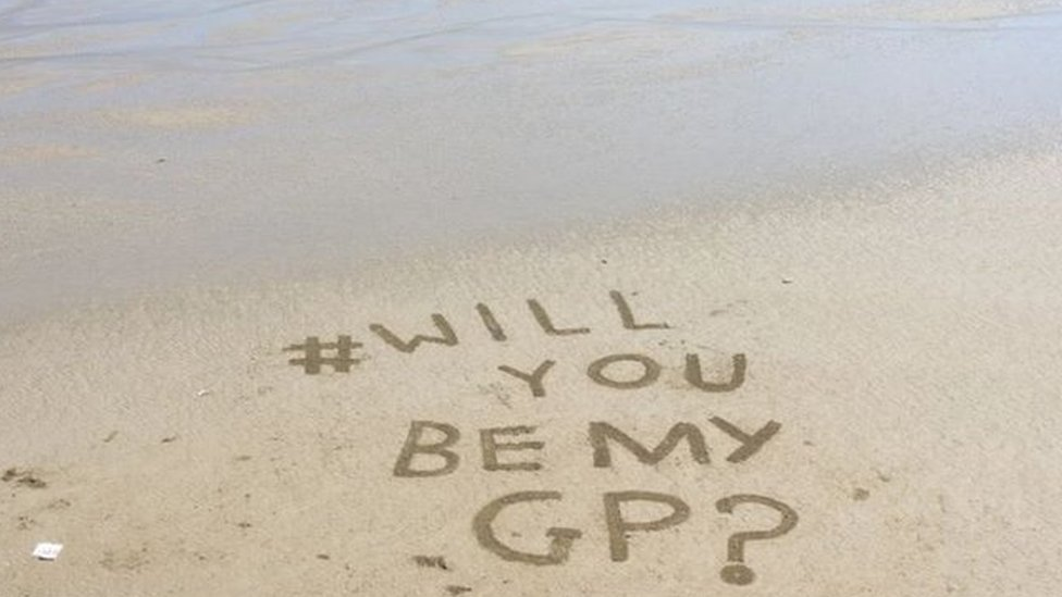 Plea for GP written in sand by Mevagissey villagers