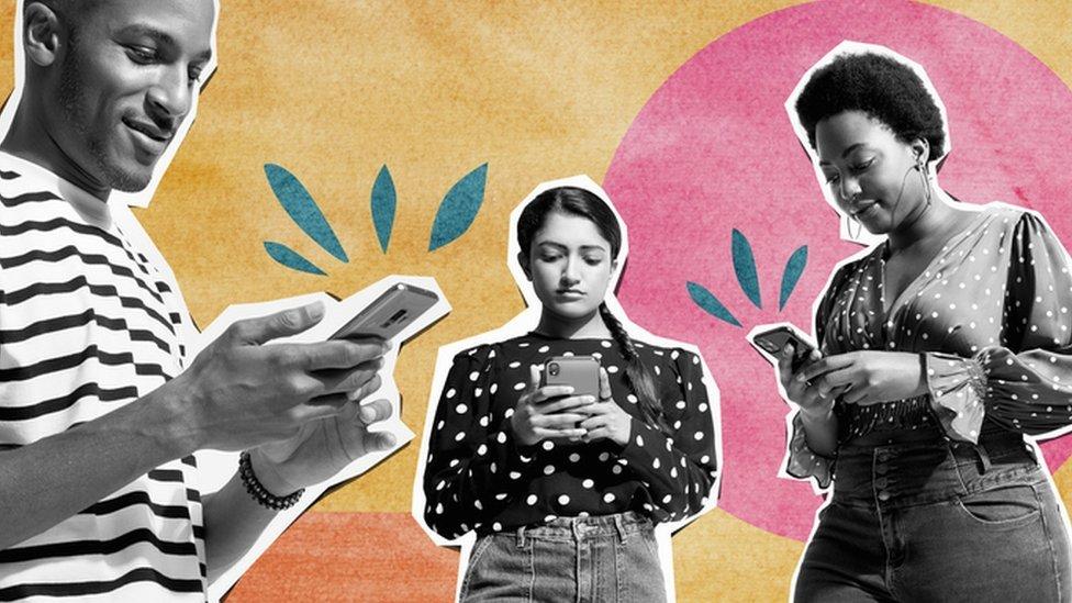 Millennials holding mobile phones
