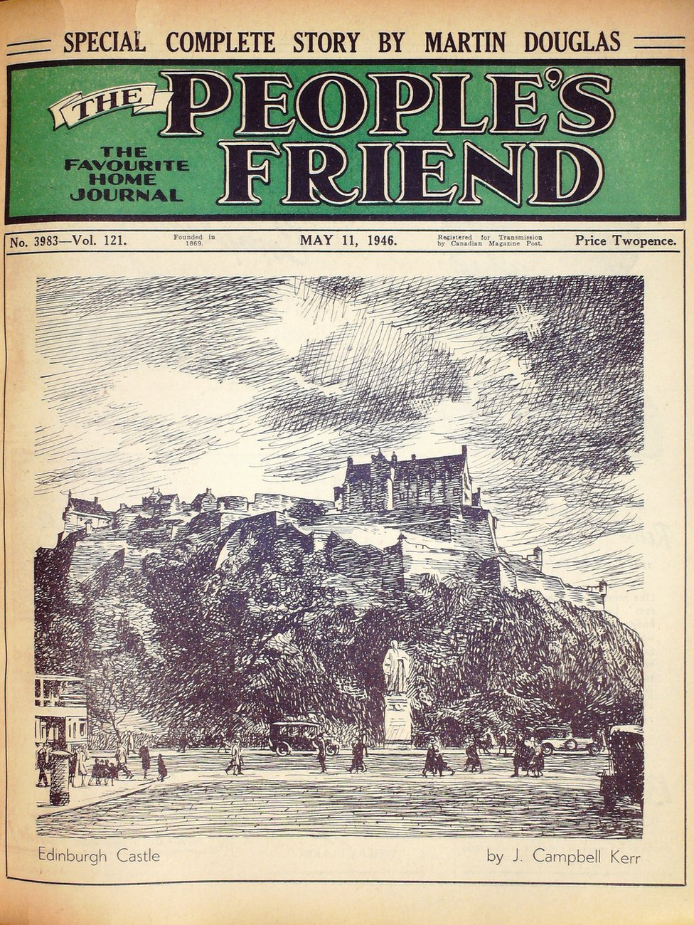 The first edition of the People's Friend to feature a drawing of a Scottish landmark was in 1946