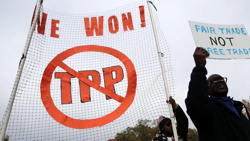 美國反對跨太平洋貿易伙伴關係(TPP)的民眾抗議
