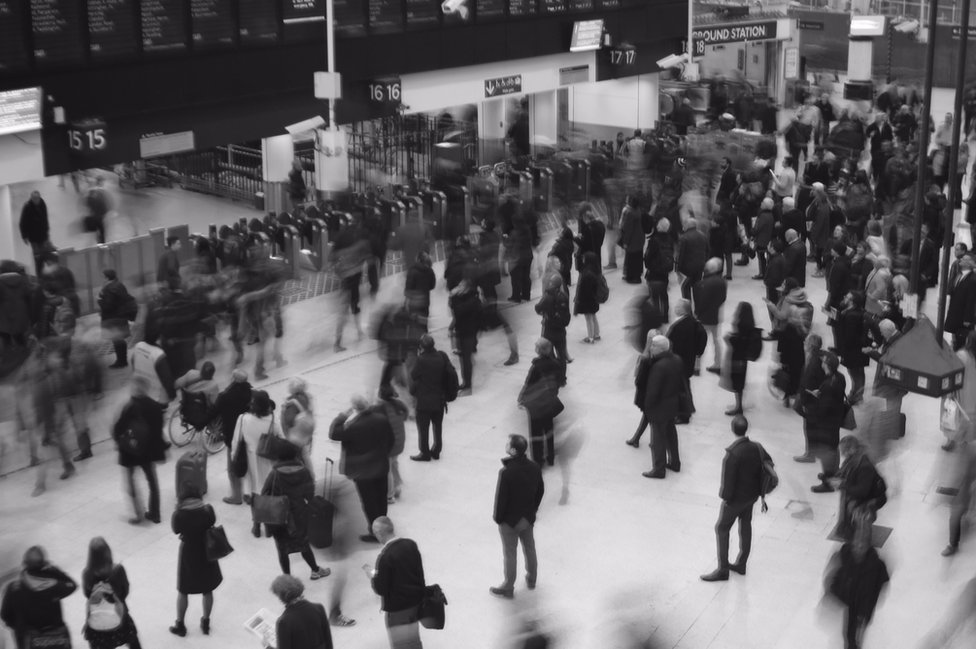 The movement of travellers through a station