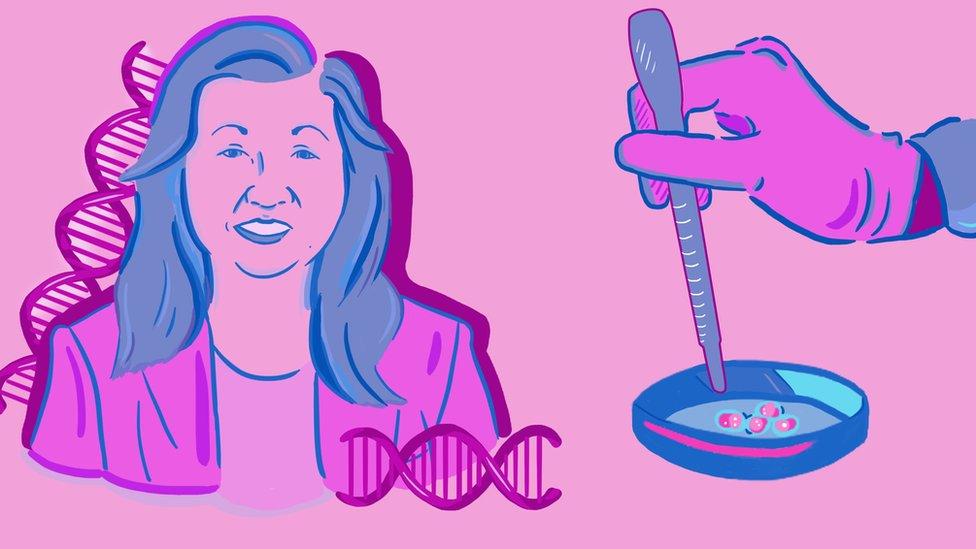 Illustration of Ann Tsukamoto and a petri dish
