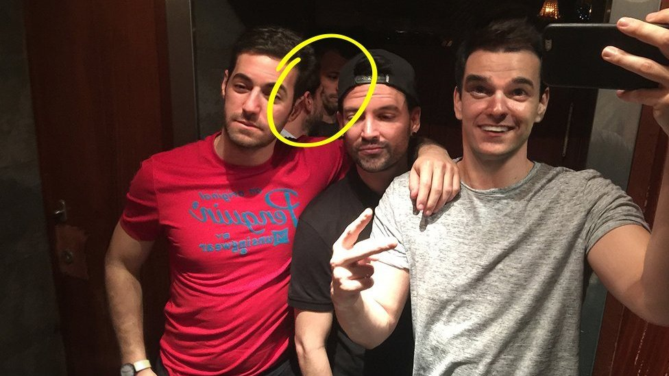 The photo Modesto García created as part of his Twitter murder mystery, highlighting the background characters