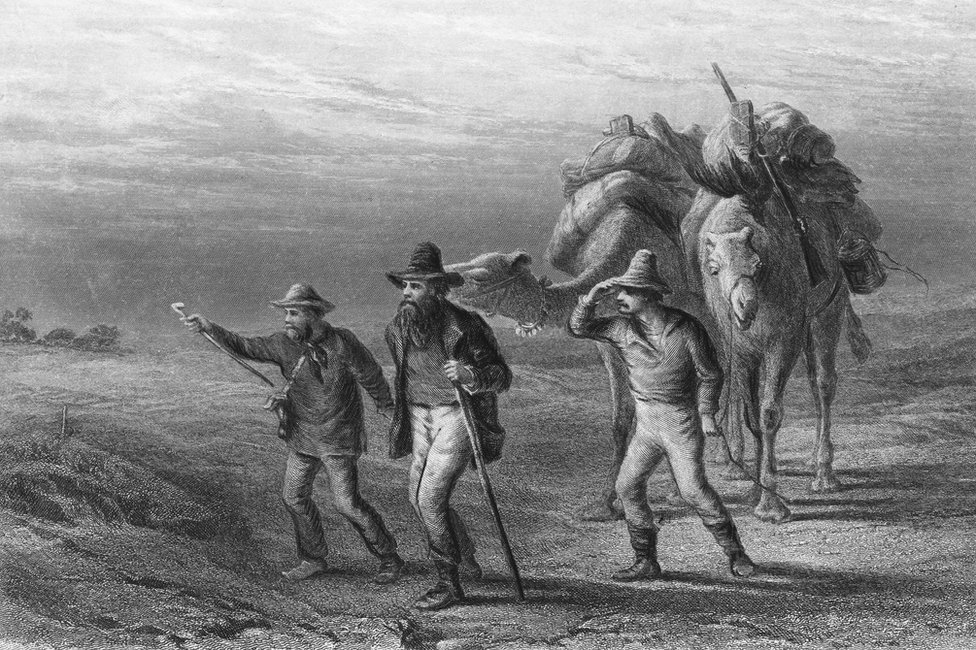Ilustración de Robert Burke, William Wills y John King llegando a Cooper's Creek, en 1861
