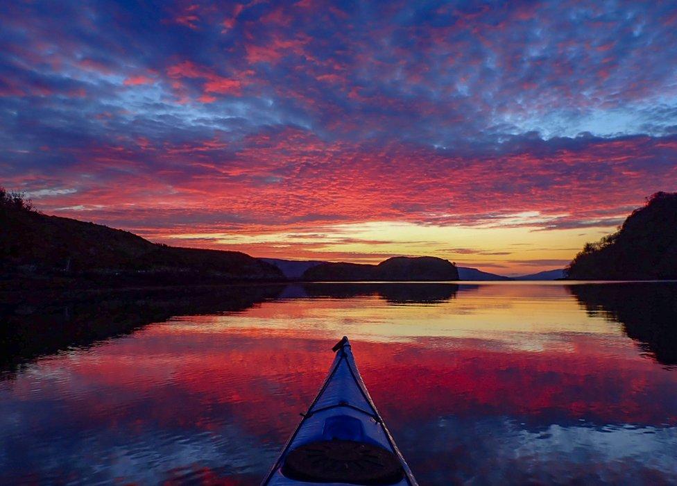 Kayak and sunrise