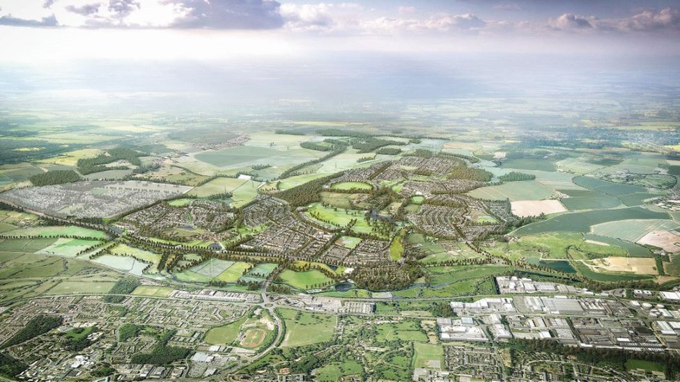 Aerial shot of proposed garden town on the Essex-Hertfordshire border